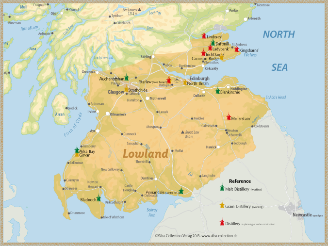 Lowlands single-malt distilleries in green